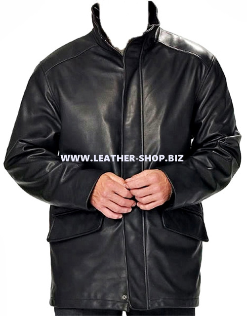 Men's leather Long Coat custom made style MLC531