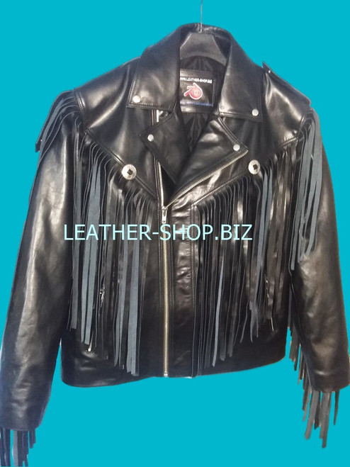 mens leather jacket with fringes custom made front pic style mljf209