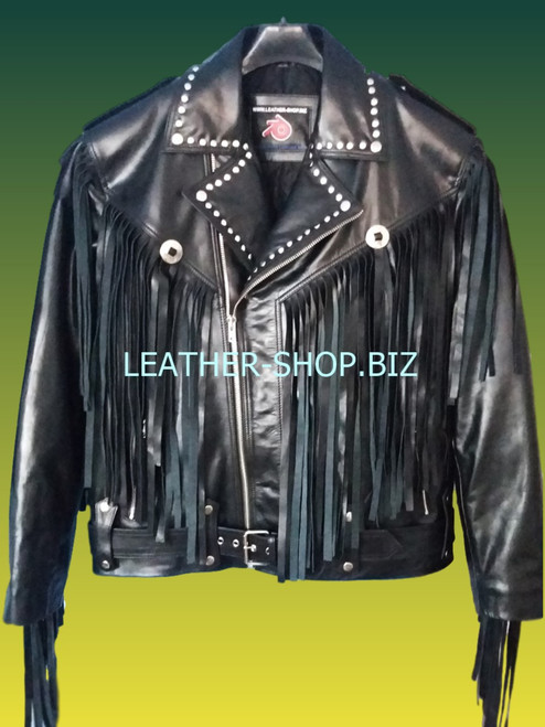 Mens fringed leather jacket with studs mljf210 front 1 pic