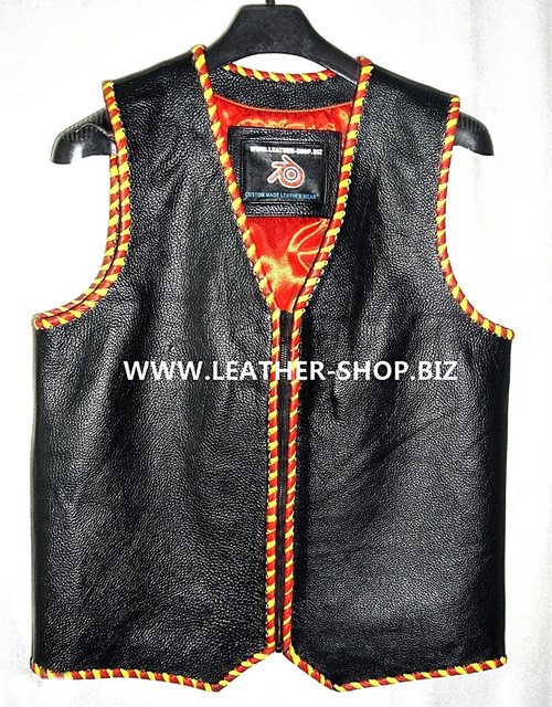 Mens leather vest with braid style MLVB1289, vest front pic.