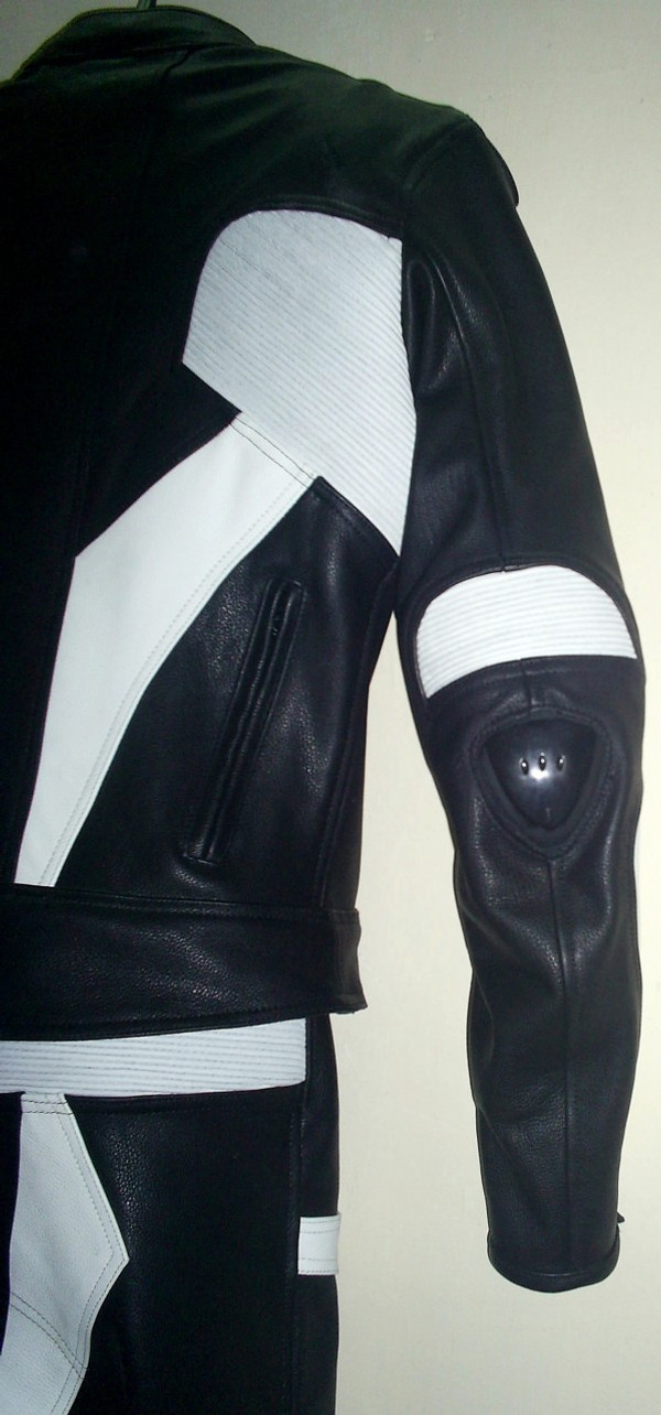 Leather racing suit custom made - style MS679 WWW.LEATHER-SHOP.BIZ sleeve back pic