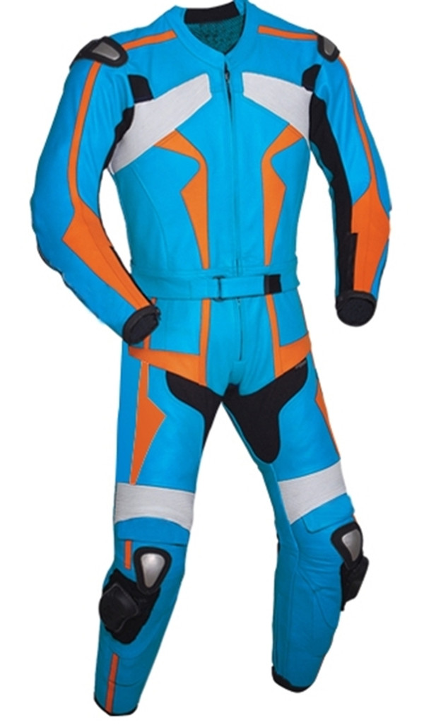 Leather racing suit custom made - style MS26888 WWW.LEATHER-SHOP.BIZ light blue front pic