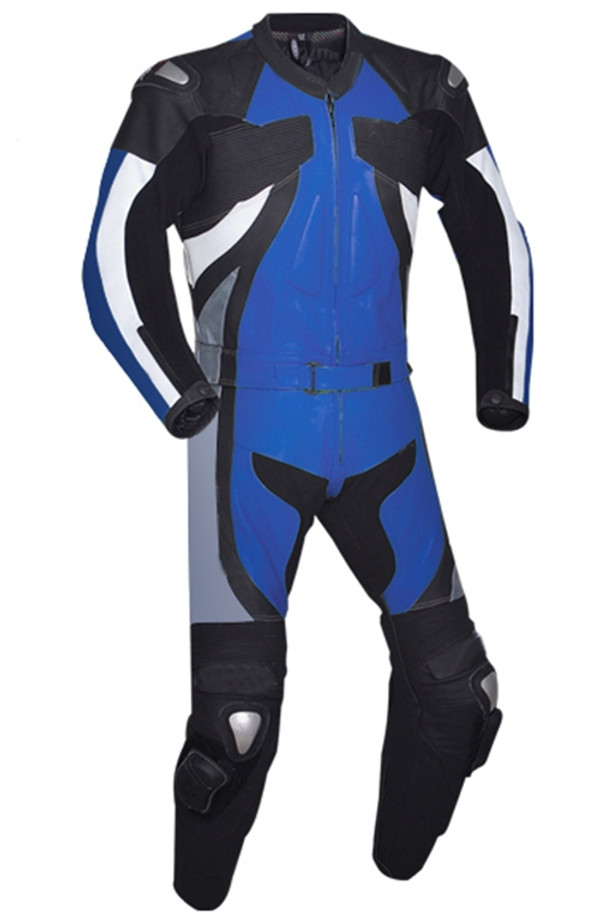Leather racing suit custom made - style MS2677 WWW.LEATHER-SHOP.BIZ blue front pic