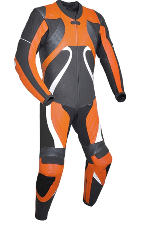 Leather racing suit custom made - style MS2666 WWW.LEATHER-SHOP.BIZ Orange front pic