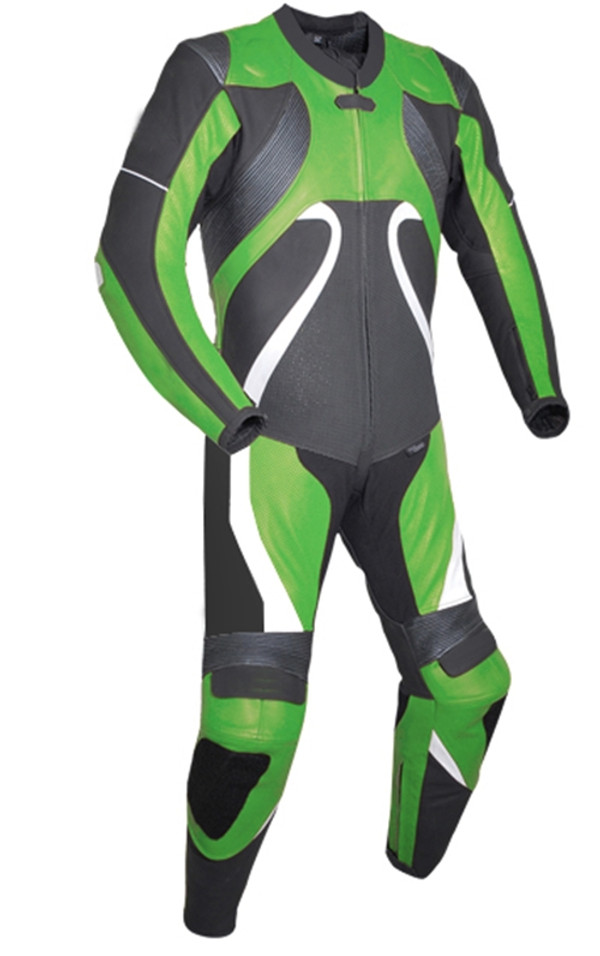 Leather racing suit custom made - style MS2666 WWW.LEATHER-SHOP.BIZ Green front pic