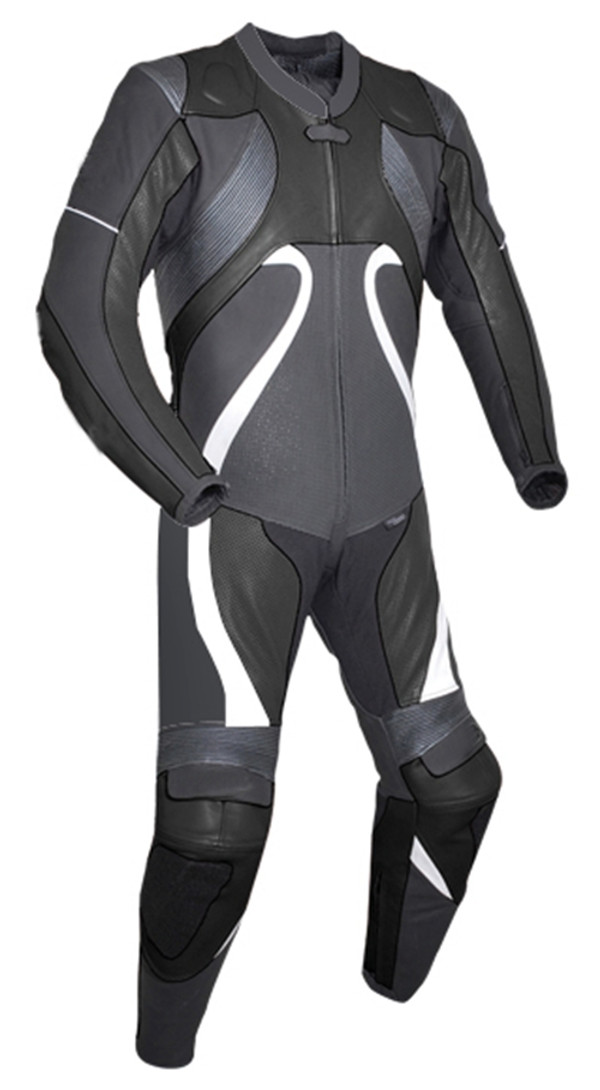 Leather racing suit custom made - style MS2666 WWW.LEATHER-SHOP.BIZ Black front pic