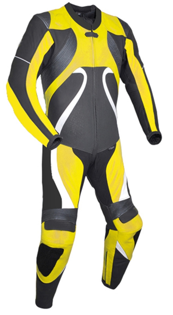 Leather racing suit custom made - style MS2666 WWW.LEATHER-SHOP.BIZ Yellow front pic
