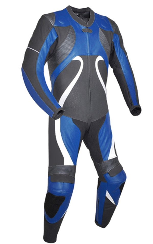 Leather racing suit custom made - style MS2666 WWW.LEATHER-SHOP.BIZ Blue front pic