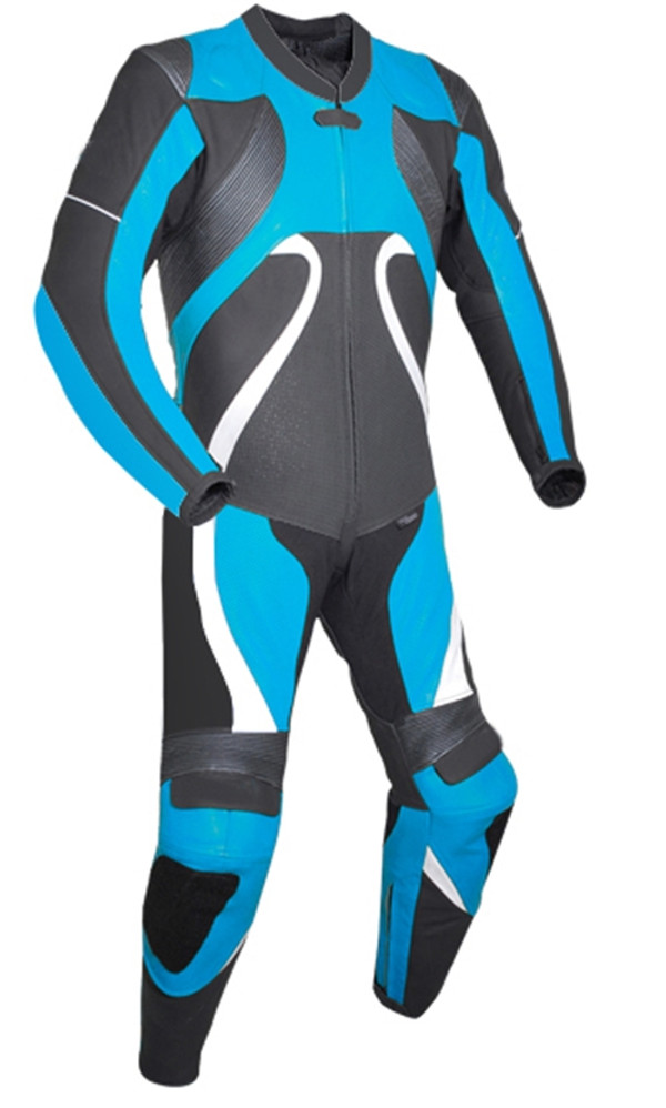 Leather racing suit custom made - style MS2666 WWW.LEATHER-SHOP.BIZ Light Blue front pic