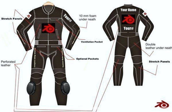 LS0012 Leather motorcycle  suit custom made by leather-shop.biz front and back  red logo pics