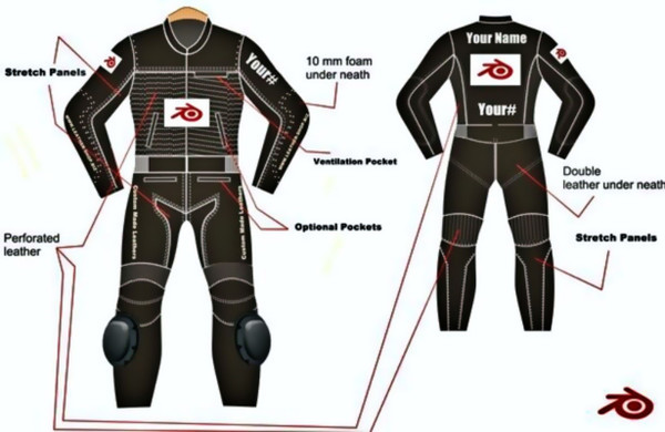 LS0012 Leather motorcycle  suit custom made by leather-shop.biz front and back  white logo pics