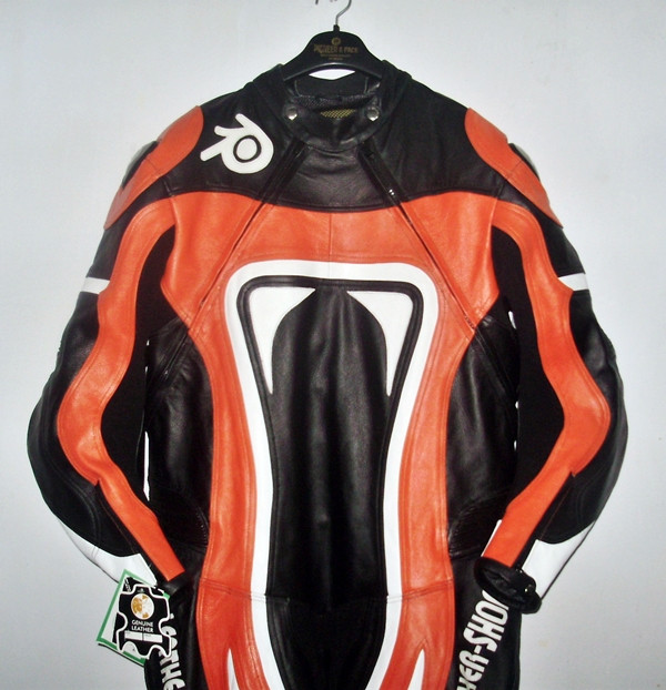 Leather motorcycle suit style MS0035LS orange and black colors front picture