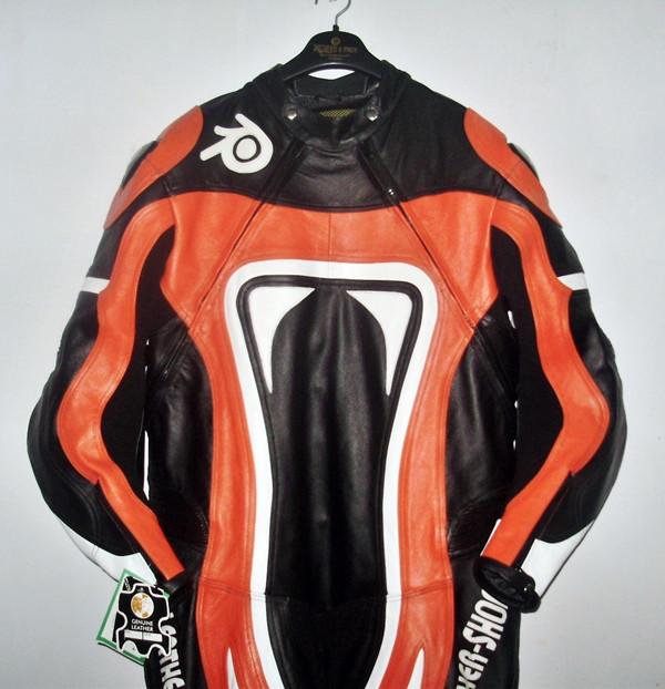 Nahast mootorratta ülikonna stiil MS0035LS oranž ja must värv ees pilt