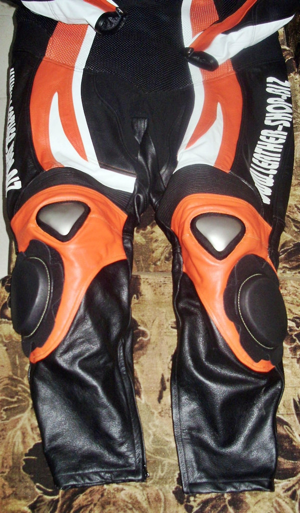 Leather motorcycle suit style MS0035LS orange and black colors front lower half of suit picture