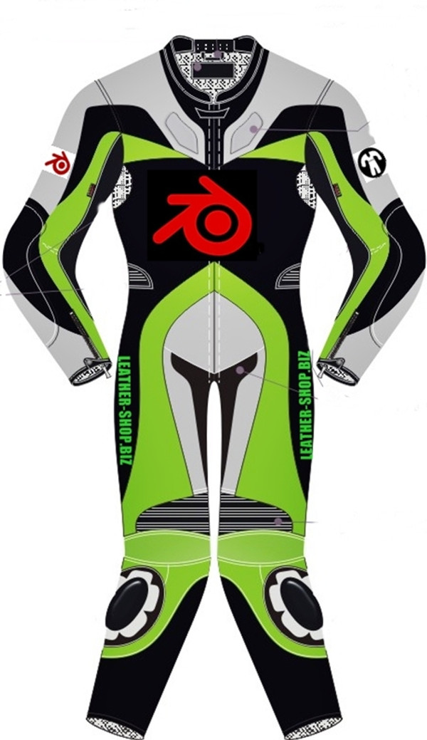 Motorcycle suit style MS0036LS WWW.LEATHER-SHOP.BIZ front of suit Green color picture