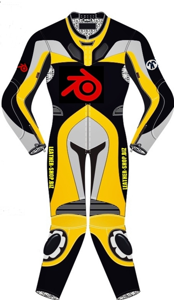 Motorcycle suit style MS0036LS WWW.LEATHER-SHOP.BIZ front of suit Yellow color picture
