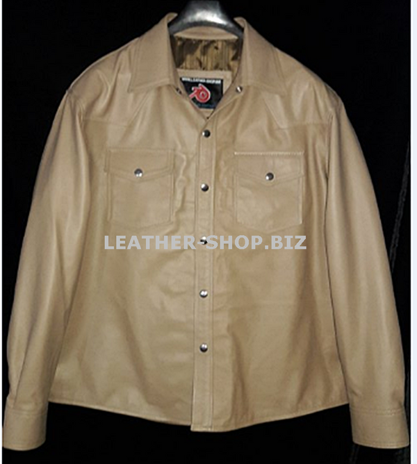 Leather Shirt LS014 WWW.LEATHER-SHOP.BIZ available in 8 colors custom made Tan color front pic
