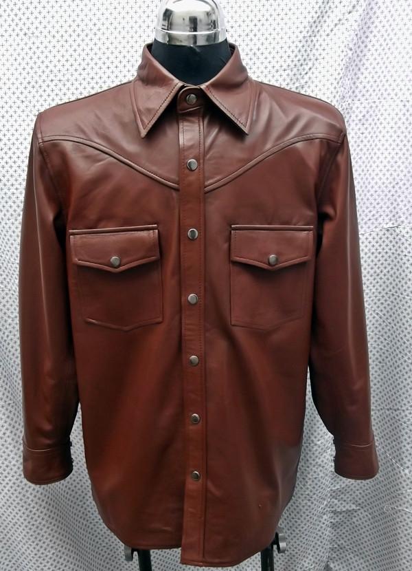 Košulja košulja prilagođeni stil LS016 po narudžbi www.leather-shop.biz ispred košulje slike