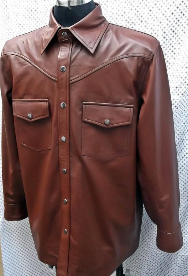 Kožna majica prilagođena stilu LS016 izrađena po narudžbi www.leather-shop.biz Ispred košulje slika 2
