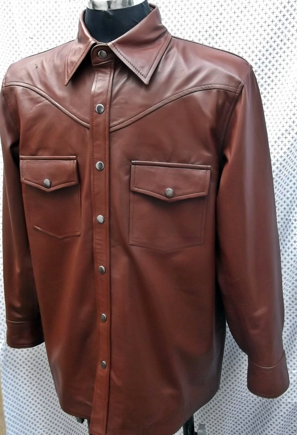 Leather shirt custom style LS016 made to order www.leather-shop.biz front of shirt picture 2
