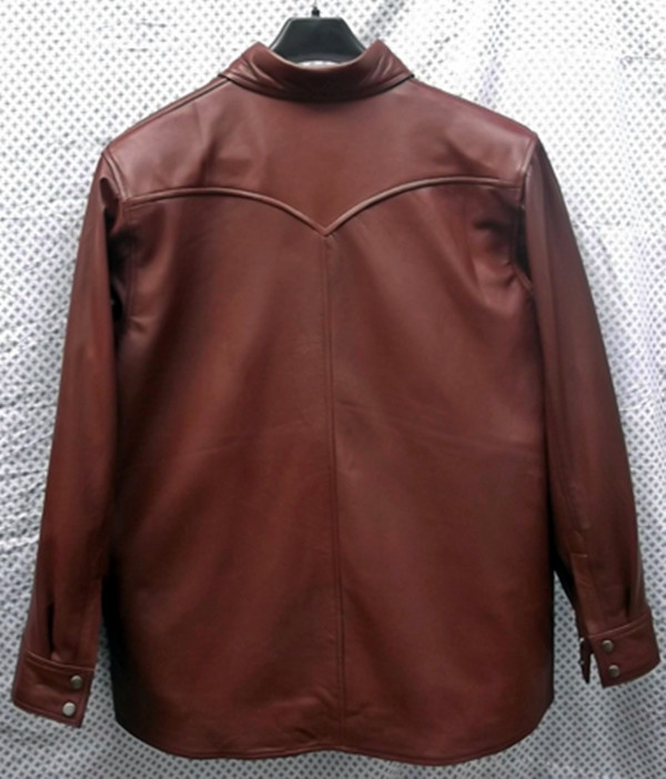 Leather shirt custom style LS016 made to order www.leather-shop.biz back of shirt picture