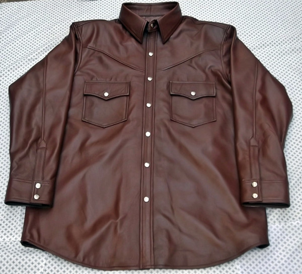 Leather shirt custom style LS016 made to order www.leather-shop.biz front of shirt picture 3