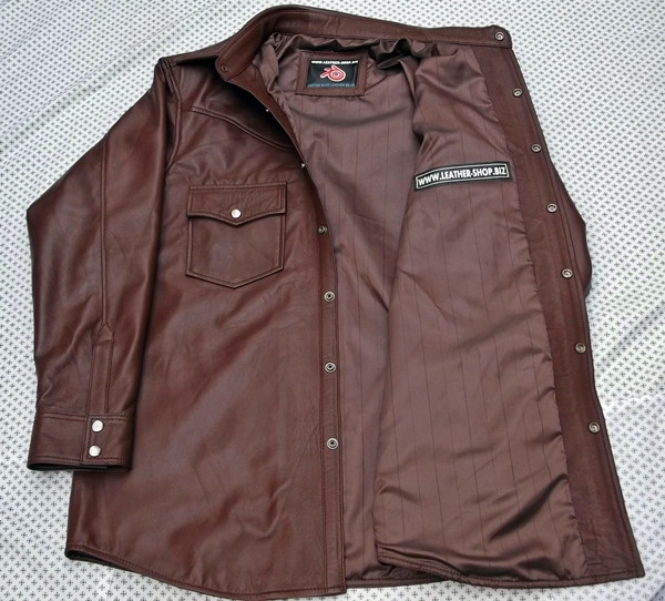 Brown lamLeather shirt custom style LS016 made to order www.leather-shop.biz front of shirt picture 4