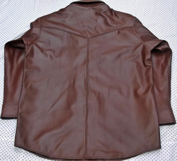 Leather shirt custom style LS016 made to order www.leather-shop.biz back of shirt picture 2