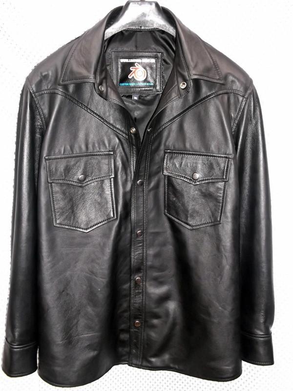 crna košulja od jagnjeće kože po mjeri www.leather-shop.biz LS018 prednja slika košulje