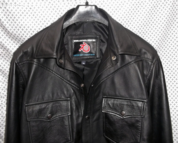 black lambskin leather shirt custom made www.leather-shop.biz LS018 front of shirt picture 2