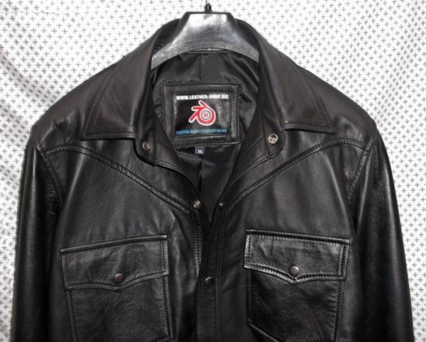 crna košulja od janjeće kože po mjeri www.leather-shop.biz LS018 prednja strana košulje slika 2