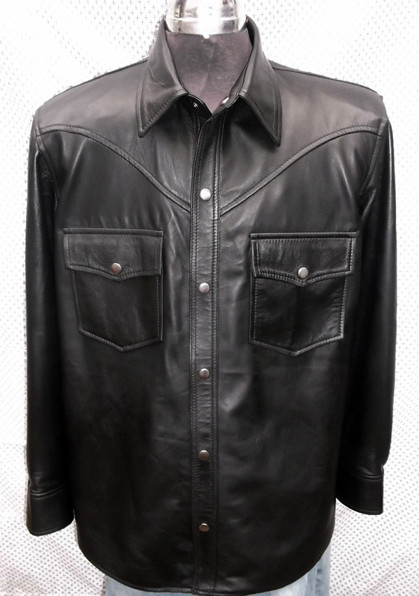 black lambskin leather shirt custom made www.leather-shop.biz LS018 front of shirt picture 3