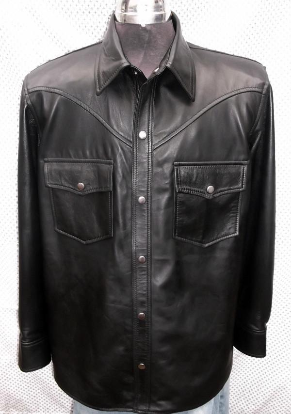 crna košulja od janjeće kože po mjeri www.leather-shop.biz LS018 prednja strana košulje slika 3