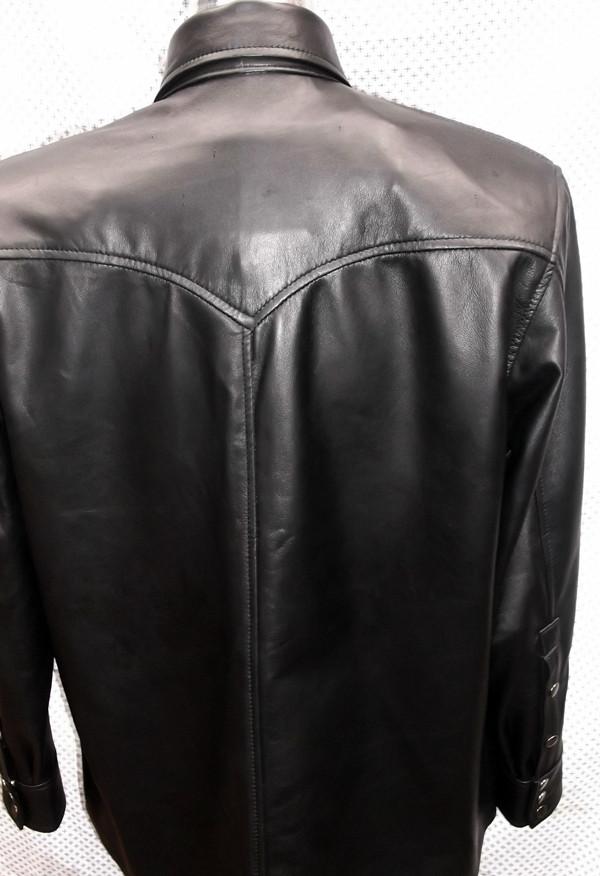 black lambskin leather shirt custom made www.leather-shop.biz LS018 back of shirt picture
