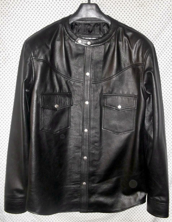 leather shirt custom made www.leather-shop.biz LS018NC no collar black lambskin front of shirt picture 2
