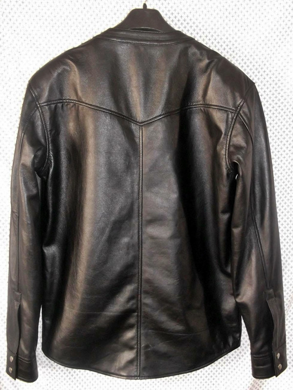 leather shirt custom made www.leather-shop.biz LS018NC no collar black lambskin back of shirt picture