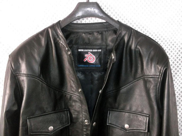 leather shirt custom made www.leather-shop.biz LS018NC no collar black lambskin collar picture