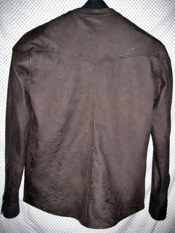 Leather shirt no collar style LS018 distressed dark brown WWW.LEATHER-SHOP.BIZ back of shirt picture