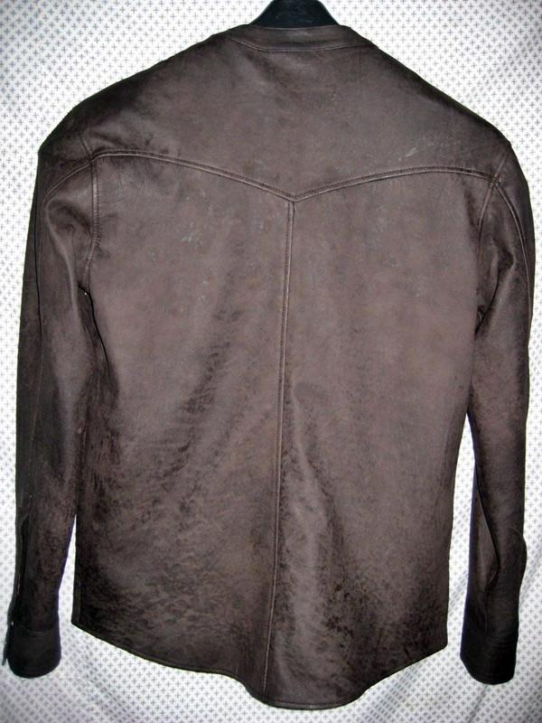 Cămașă din piele fără guler LS018 în întristare maro închis WWW.LEATHER-SHOP.BIZ poza cămașa