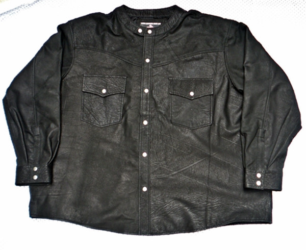 Leather shirt no collar style LS018 distressed black lambskin WWW.LEATHER-SHOP.BIZ front of shirt picture