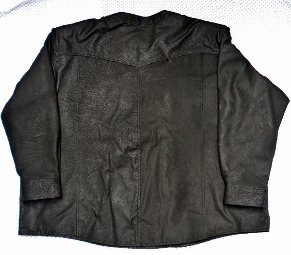 Leather shirt no collar style LS018 distressed black lambskin WWW.LEATHER-SHOP.BIZ back of shirt picture