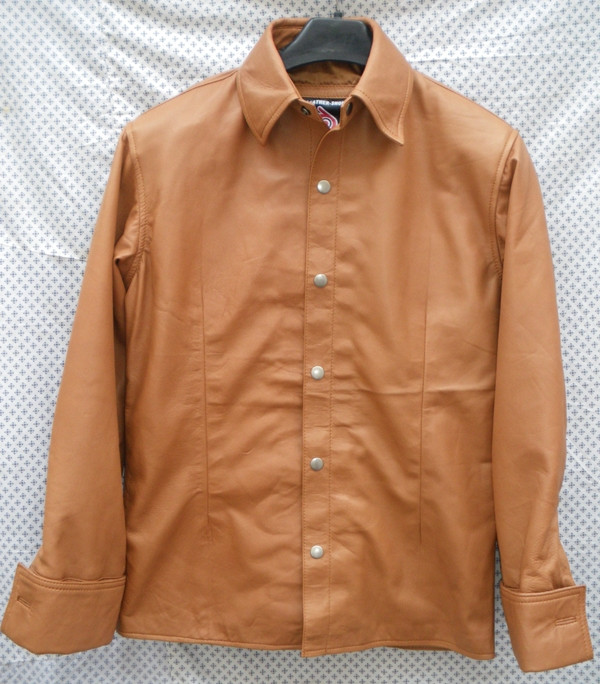 Mens lambskin leather shirt LS060 light brown with French Cuffs front pic