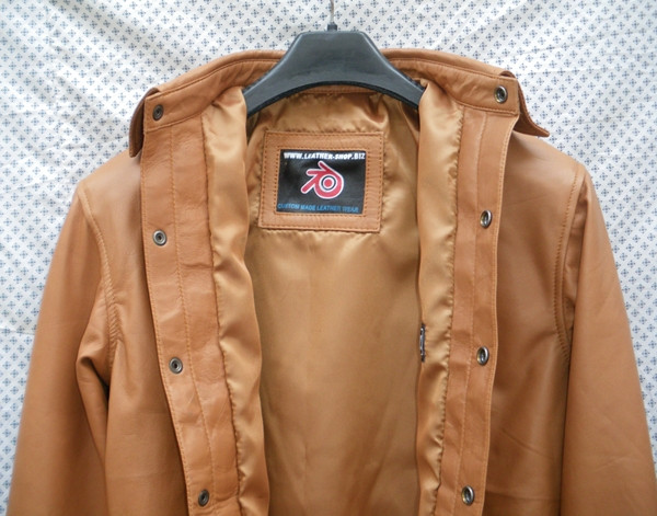 Mens lambskin leather shirt LS060 light brown with French Cuffs label pic