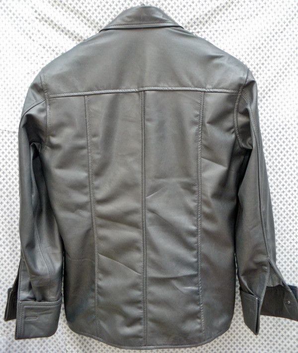 Mens lambskin leather shirt LS060 dark gray with French Cuffs back pic