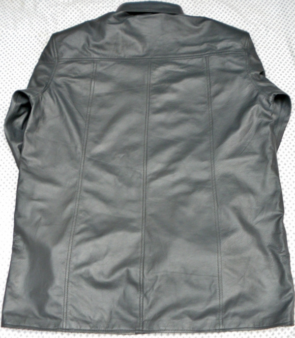 Mens lambskin leather shirt LS060 dark gray with French Cuffs back pic 2