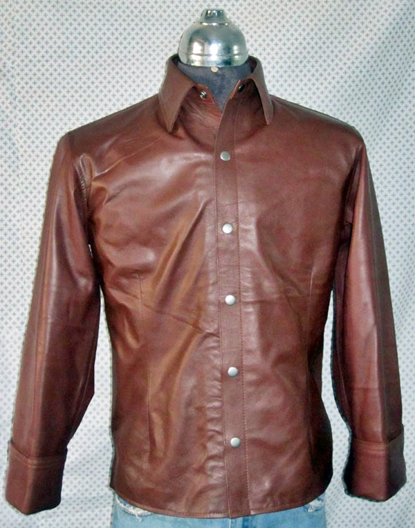 Mens lambskin leather shirt LS060 dark brown with French Cuffs front pic
