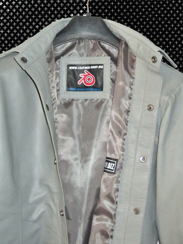 Mens lambskin leather shirt LS060 light gray with French Cuffs label pic
