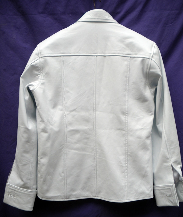 Mens lambskin leather shirt LS060 white with French Cuffs back pic