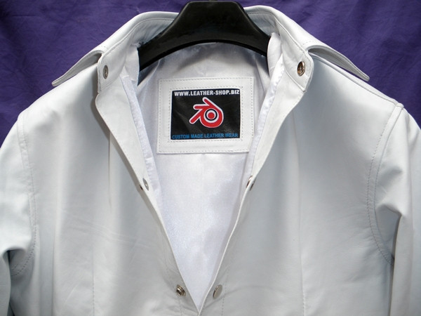 Mens lambskin leather shirt LS060 white with French Cuffs collar pic