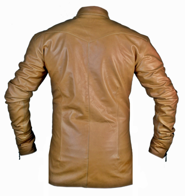 leather shirt LS050Z brown with zippered front and cuffs back of shirt picture